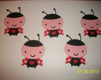 lot of 5 ladybug diecuts