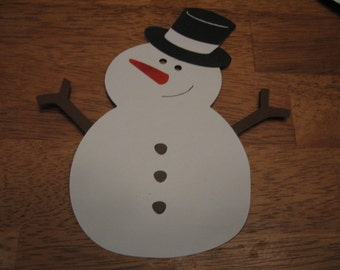 5 snowmen-fully assembled- cricut- 4 inch tall