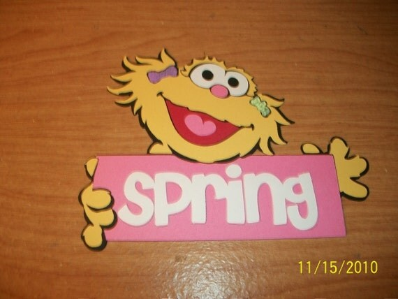 Zoe with spring title die cut