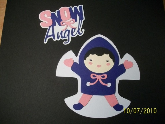 snow angel title and snow angel girl die cut