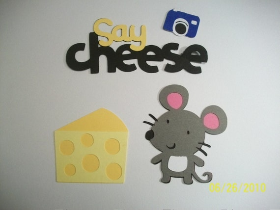 mouse, cheese, camera, and say cheese title diecuts