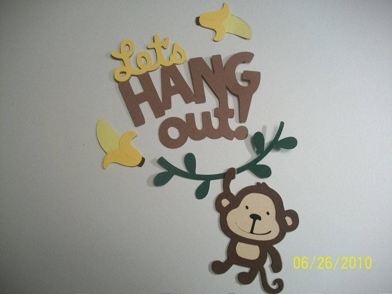 monkey on a vine bananas and let u0027s hang out title diecuts from