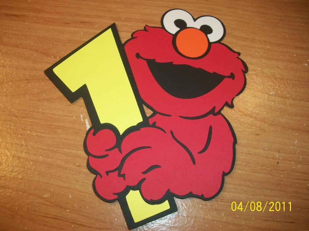 Elmo holding a number 1 die cut set of 5
