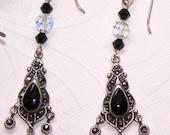 SALE - Marcasite Black Onyx Earrings, Sterling Silver Earrings
