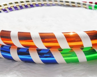 ON SaLE - BeSt SeLLiNg Custom Travel Hula Hoop 'The Mirrored RAINBOW WARRIOR' - Pro Hoops with Over 28,000 Sold.