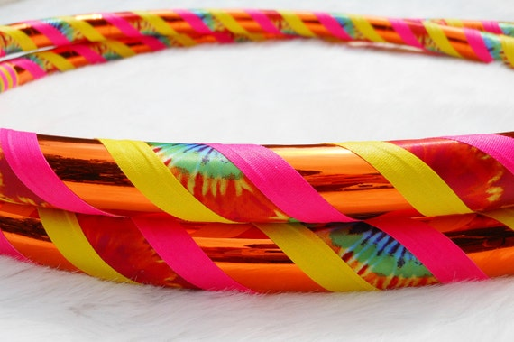 BeSt SeLLeR - The 'Happy Hippie In Day Glow' - One of a Kind Tie Dyed Travel Hula Hoop