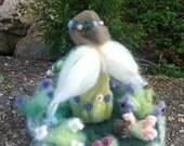 Needle Felted Flower Garden, Nature Table, Fairy Dwelling, Custom