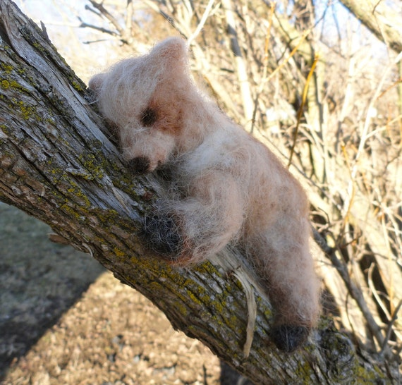 Wool Blonde Grizzly Bear Cub, Teddy Bear, Needle Felted