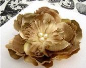 SALE - OVER 70% OFF. no. 6 cream and tan fantasy bloom hair clip - brooch