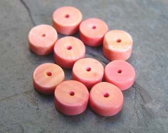 Pink Coral Heishi Beads (10)