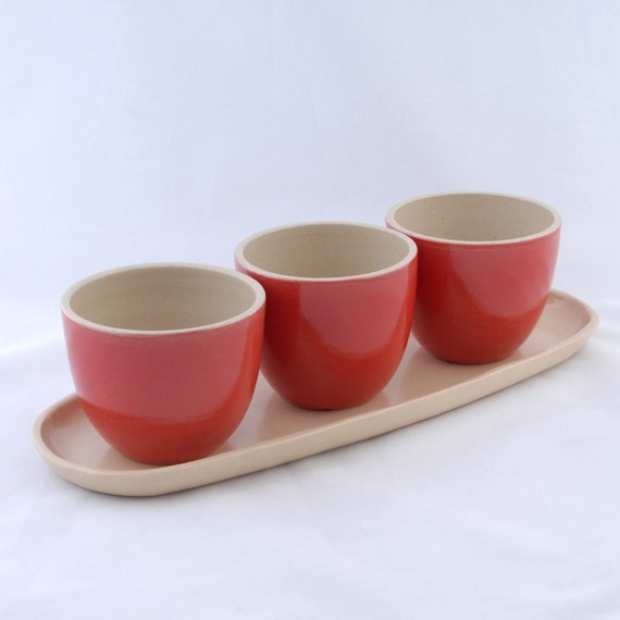 SALE  Planter Trio with Tray in Red and Natural