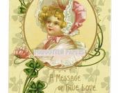 RESERVED for SUSAN - Vintage Postcard - Artist Litho - Beautiful Girl in Lace and Silk - FRANCES BRUNDAGE