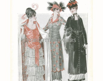 TITANIC FASHIONS -  Hand Tinted Print  from 1914 McCalls  Magazine - Lines that Dominate - Mandarin Modes in Paris on Back