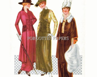 TITANIC Style Fashions - Full Color Hand TINTED Print  from 1914 McCalls Magazine - WINGED Hats - 2-Fer Tinted Print on Reverse