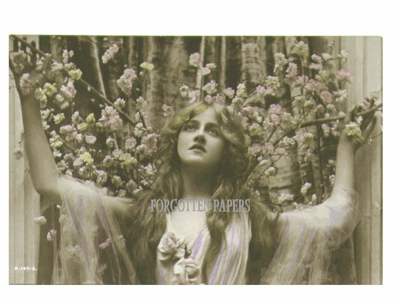 Ethereal Long Haired BEAUTY Among the Roses - HAND TINTED Real Photo POSTCARD of the Stunning EDWARDIAN Actress IVY CLOSE