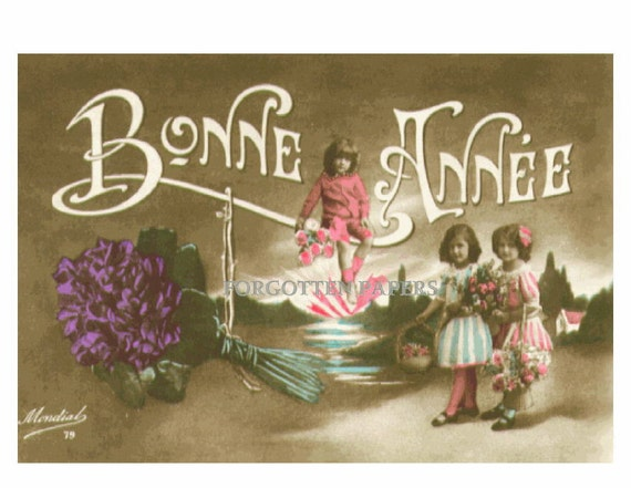 FRENCH FANTASY Pastel Tinted Vintage New Year Greetings Postcard - Adorable Children - Flowers - Pastoral Scene - Signed MONDIAL
