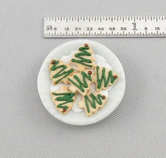 Dollhouse Miniature Christmas Tree Cookies on Plate