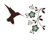 Hummingbird with Flower Branch Wall Decal