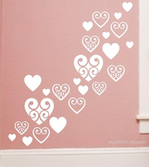 Heart Wall Decals set of 50 New Design Dorm Room Decor Choose Colors matte vinyl heart wall stickers