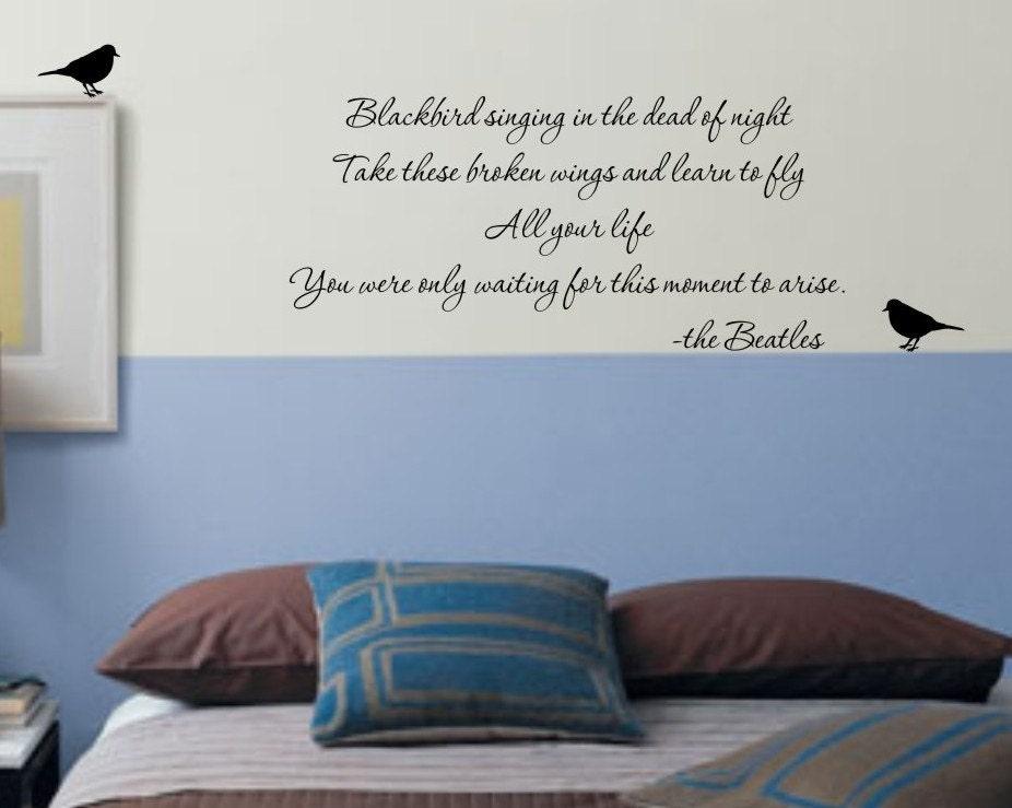blackbird beatles song lyrics vinyl wall decal by sophie jenner wall stickers 1d one direction lyrics