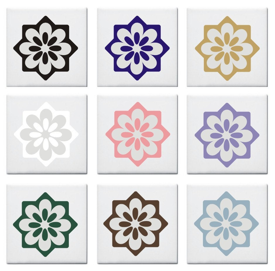 Decorative Tile Decal Sticker Flower Design By Fairydustdecals