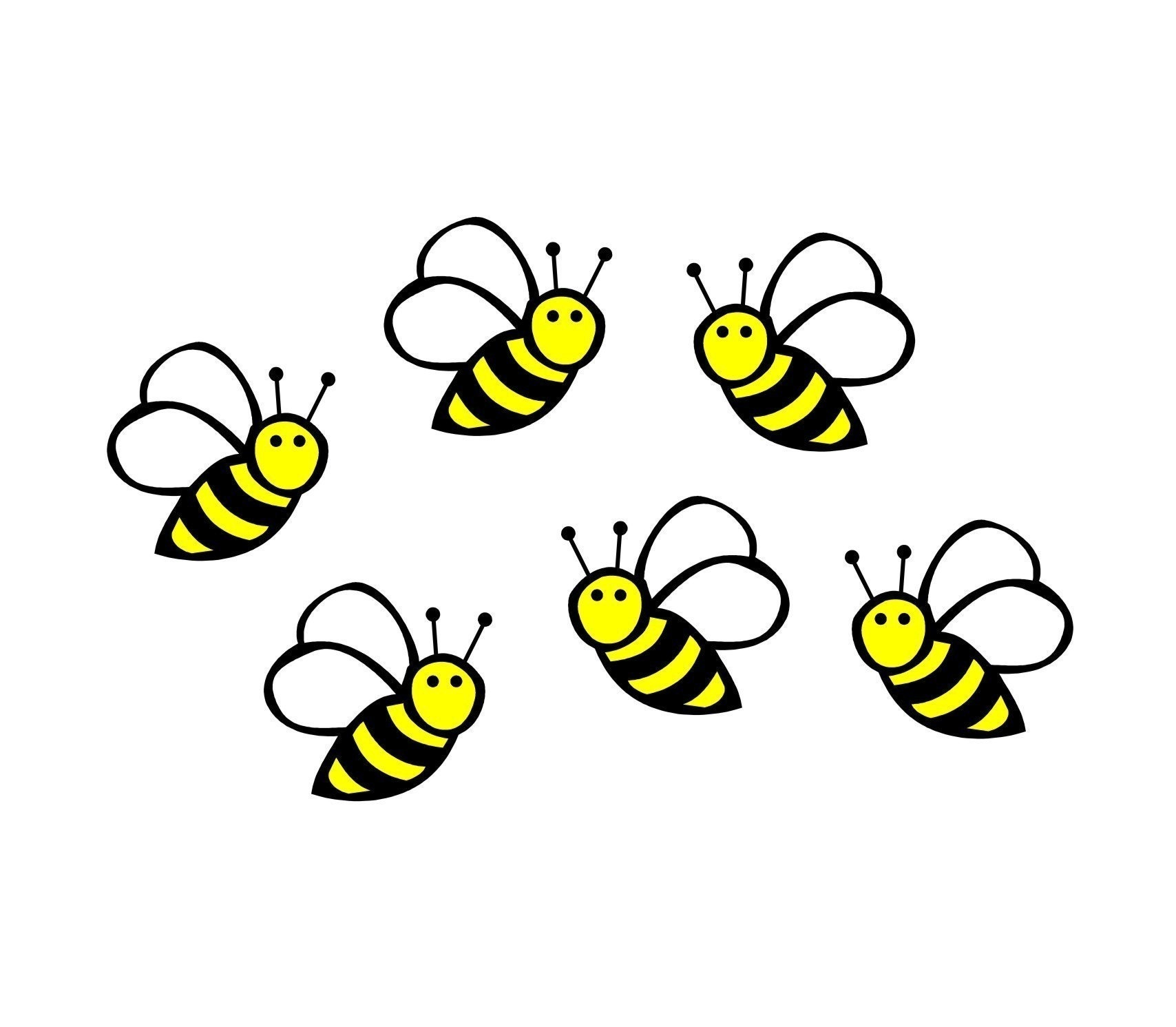 bumble bees wall decals set of 6 vinyl wall decor