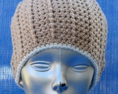 SALE    Tan Crocheted Ridged Beanie Skullcap    SALE