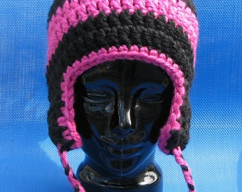 Black and Magenta Hand Crocheted Earflap hat beanie skull cap oversized