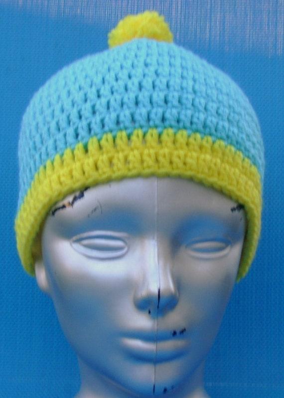 Southpark Cartman Hat beanie skull cap handmade crocheted warm winter turquoise and yellow