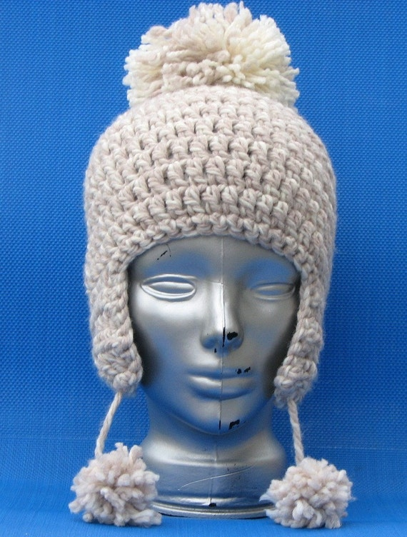 Crocheted Oatmeal Earflap Hat with big pom pom great for winter unisex