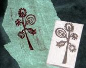 Hand carved stamp - Fantasy plant
