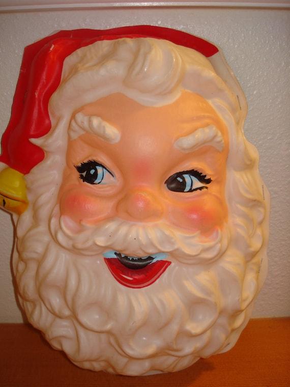 Vintage Molded Plastic Santa Face Lifesize Wall decoration Door Decoration Jolly St Nick