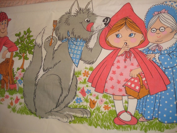 Vintage Fairy Tale Little Red Riding Hood Sheet 81 x 104 Big enough for a queen bed 1980's