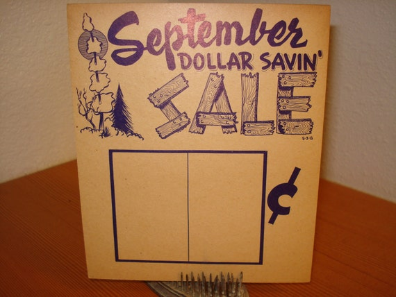 VINTAGE SALE SIGN September Fall  /Sale / cardboard / store sign / grocery / department store / holiday sign / 1940s / advertisement