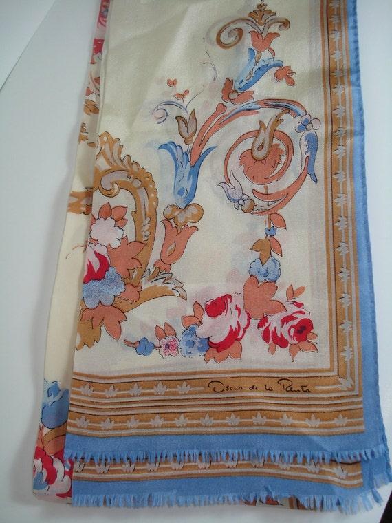 """Vintage Oscar De La Renta Neck Scarf / pastels / floral / 10"""" x 42"""" / silk scarf"""