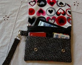 Hearts and Polka Dots Wristlet / Wallet / Clutch / Purse
