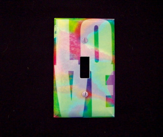 LOVE Light Switchplate Cover Bright Colored Background Switch Plate