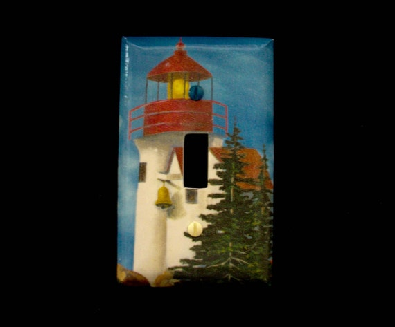 Single light switch plate cover lighthouse ocean theme for Lighthouse switch plates