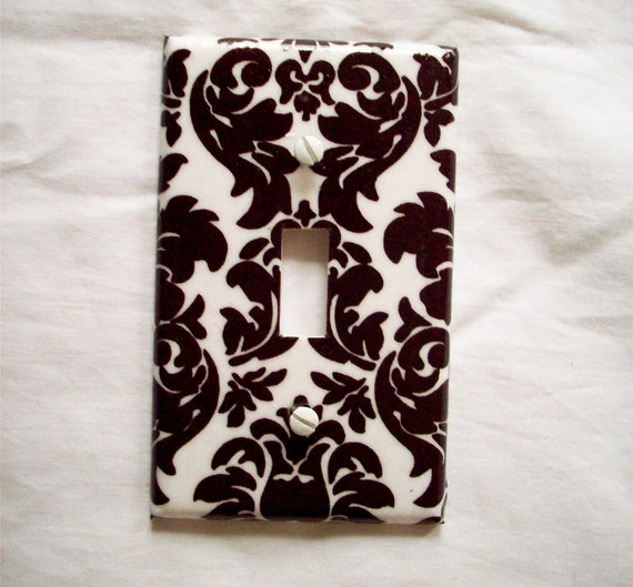Single Light Switch Plate Cover Damask Brown and White