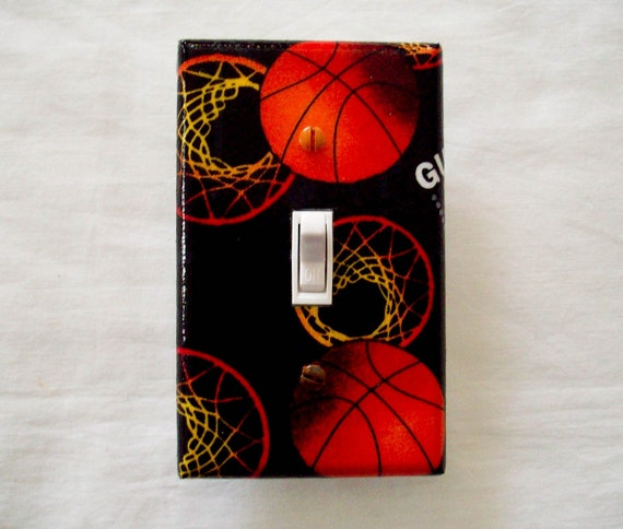 Boys Light Switch Cover Basketball Hoops By Cathyscraftycovers