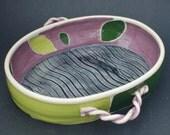 Ceramic oval casserole, green, purple leaves