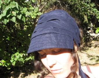 Navy Linen Wrap Cap Visor hat