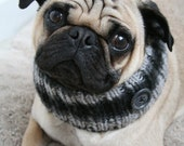 SALE Snuggly Pug Neck Warmer - Black and Gray