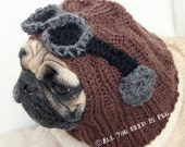 Dog Hat - Aviator Hat with Goggles- The Original Pug Hat - jessicalynneart
