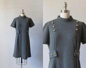 1960s Mod Dress /  60s Military Inspired Grey Dress / Gray Wool Dress