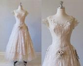 RESERVED Wedding Dress / vintage 1950s Blush Wedding Dress / Ballerina Length