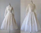 Tea Length Wedding Dress / 1950s Tea Length Wedding Dress / Emma