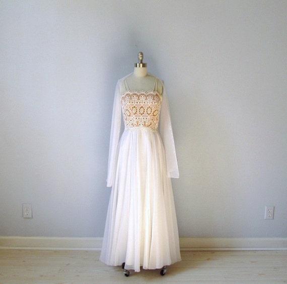 RESERVED vintage 1980s  Chiffon Dress /  White Formal Dress by Lilli Diamond Small