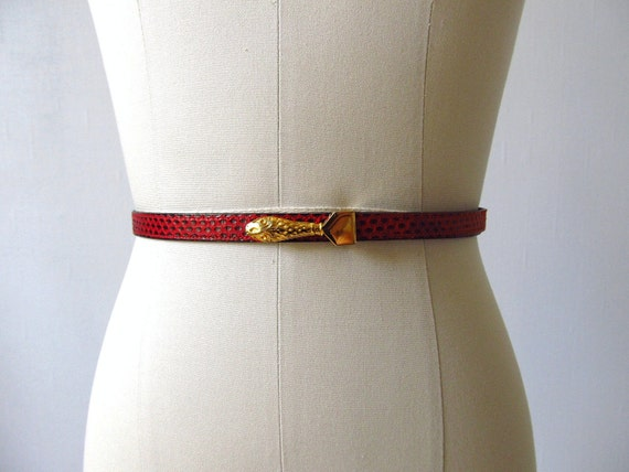vintage Red Snakeskin Belt / Gold Snake Buckle Small