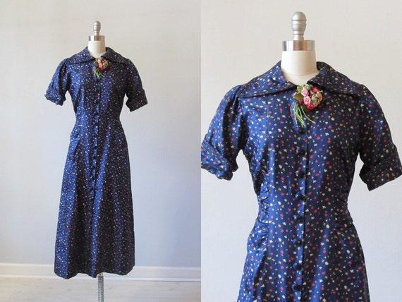 vintage 1940s Dress / Silk Dress / 40s Print Dress / Tussie Mussie